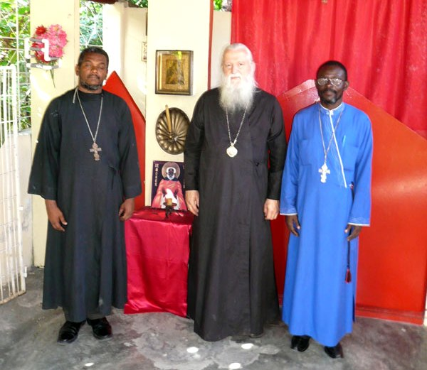 L-r: Fr Gregory, Bishop Michael, Fr Jean, in St Moses Chapel.